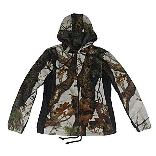 ALLIWEI Plus Hooded Hoodie Bionic Camouflage Jacket Jagdanzug Vogelbeobachtung Warme Herbst Camo Taktische Bekleidung Dschungel Winterbekleidung Versteckte Jagd Sport Bergsteigen Reiten