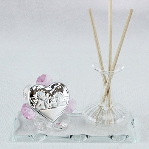 Dlm24777-rosa profumatore in vetro soffiato angeli puttini_rosa bomboniera