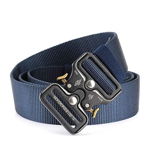 Mmamma Tactical Rigger-Gürtel für Herren, Taillengürtel aus Nylon mit V-Ring-Hochleistungsschnalle (Farbe : Blau, Size : 125cm) -