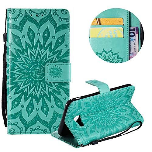 Gurt Brieftasche für Galaxy J4 Plus 2018,Grün Handyhülle für Galaxy J4 Plus 2018,Moiky Ziemlich Schöne Mandala Sonnenblume Geprägt Klappbar Kartenfächer Stoßdämpfende Ledertasche mit Stand