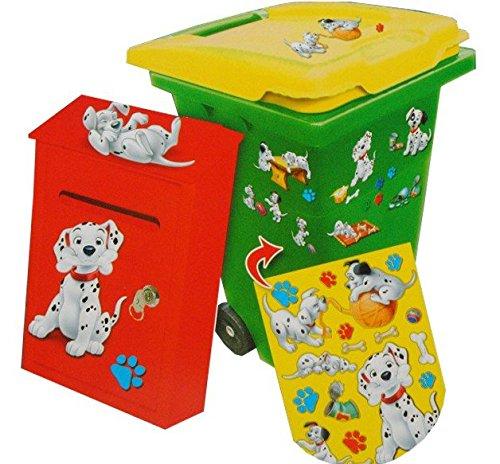 Unbekannt 18 tlg. Set Aufkleber für Mülltonne + Briefkasten - Disney 101 Dalmatiner Hund - Wasserfest Sticker (Hund Haustier Abfall-entsorgung)