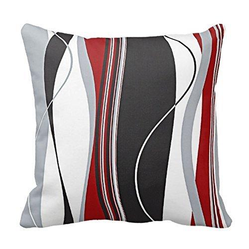 Ondulata, motivo: strisce verticali, colore: rosso, nero, bianco e grigio, per salotto, cuscino da divano, ecc.