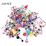 Fancyku 110 Pieces of 24 Models Stainless Steel Nail Tongue Nose Ring Navel Set Puncture Jewelry