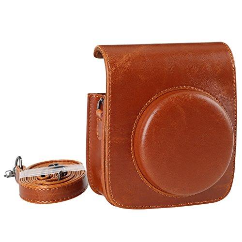 KALDA Tasche für Fujifilm Instax Mini 90 Neo Classic Sofortbildkamera, Schutztasche aus Weichem Kunstleder mit Schulterriemen (Braun)