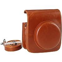 Fujifilm Instax Mini 90 Tasche, KALDA Fujifilm Instax Mini 90 Kamera Hülle Schultertasche mit weichem PU-Leder (Braun)