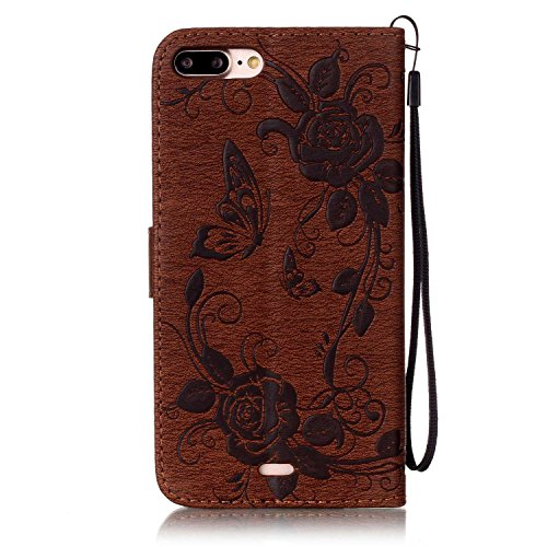 iPhone Case Cover Strass fleurs en relief en cuir PU étui portefeuille avec sangle pour iPhone 7 plus ( Color : Rose Red , Size : IPhone 7 Plus ) Brown
