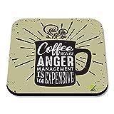 cs294Kaffee denn Anger Management ist zu teuer Neuheit Funny Kaffee Tee Getränk Geschenk glänzend MDF Untersetzer aus Holz