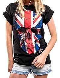 Kurzarm Shirt mit Totenkopf - Union Jack - Flagge Skull T-Shirt Oversize Top Große Größen