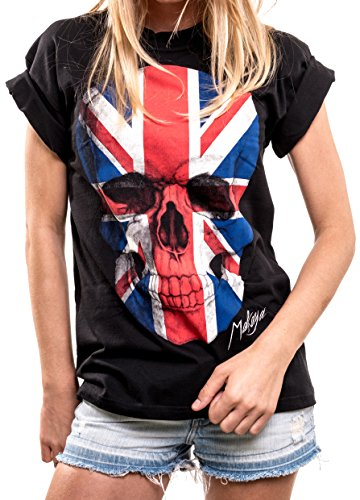 Women's Oversized Skull Union Flag T-Shirt, PLUS SIZES 14 to 24