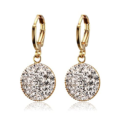 Vnox Women's Girl's Stainless Steel Crystal Beads Round Dangle Drop Earrings Gold,Creole
