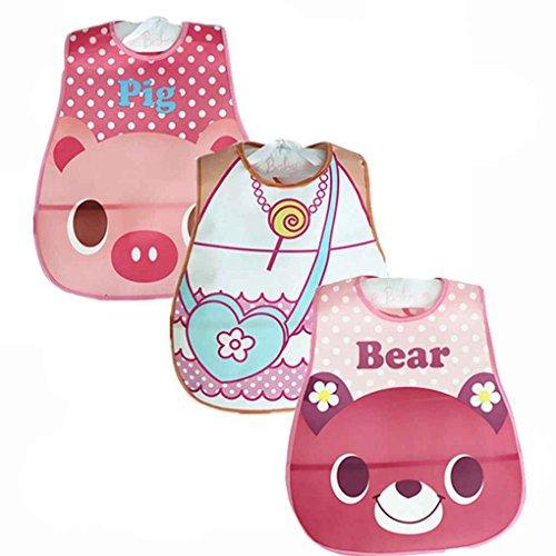 Uzinb 3pcs Suave bebé Baberos PEVA Impermeable cómodo