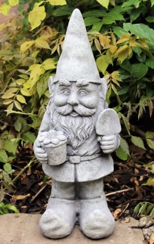 Large-Garden-Gnome-Ornament-Ceramic-Stone-Effect-48-cm-Tall-Outdoor-or-Indoor-HOME-HUT