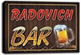 scw3-024401 RADOVICH Name Home Bar Pub Beer Mugs Stretched Canvas Print Sign