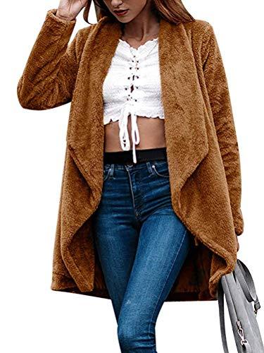 Minetom Femme Hiver Manteau Cardigan Élégant Devant Ouvert Manches Longues Chaud Polaire Peluche Veste Blouson Oversized Tops Casual Parka Marron FR 38