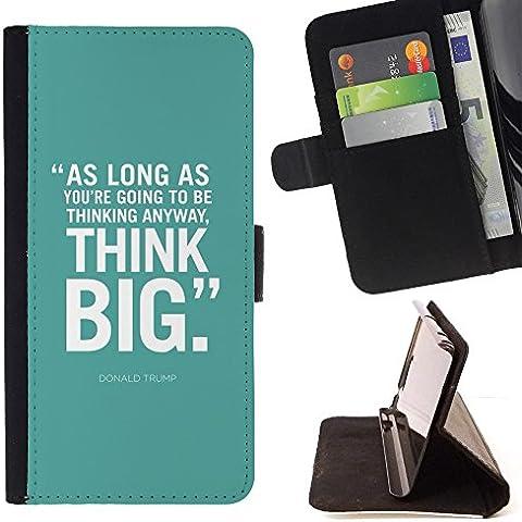 All Phone Most Case / Cellulare Smartphone cassa del cuoio della calotta di protezione di caso Custodia protettiva per SAMSUNG GALAXY J3 PRO // mint green think big inspiring text poster