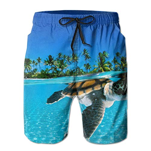 Nisdsh Sea Turtle Mens Swim Trunks Quick Dry Board Shorts with Pockets Summer Beach Short with Mesh Liner£¬ Large -