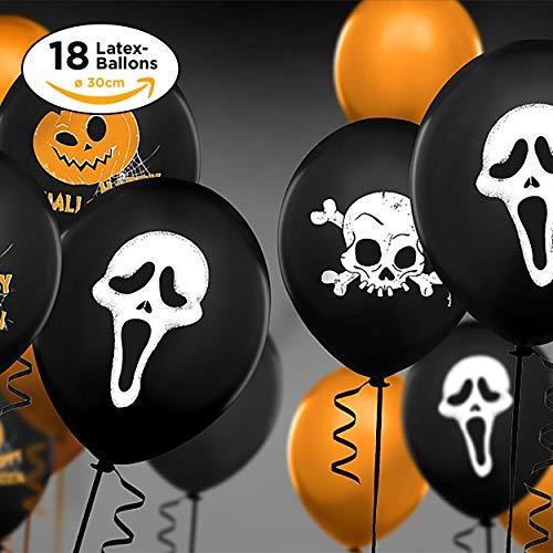 ifancy Halloween Ballons mit Geist Kürbis und Totenkopf Motiv ø30cm 18Stk. - in Top-Qualität für eine gruselige Halloween-Party Dekoration