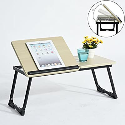 "Folding Laptop Desk Portable Bed Sofa Laptop Stand Folding Computer Laptop Table with Anti-Slip Bar to Protect Laptop Suitable for 14-17"" Notebook - inexpensive UK light store."