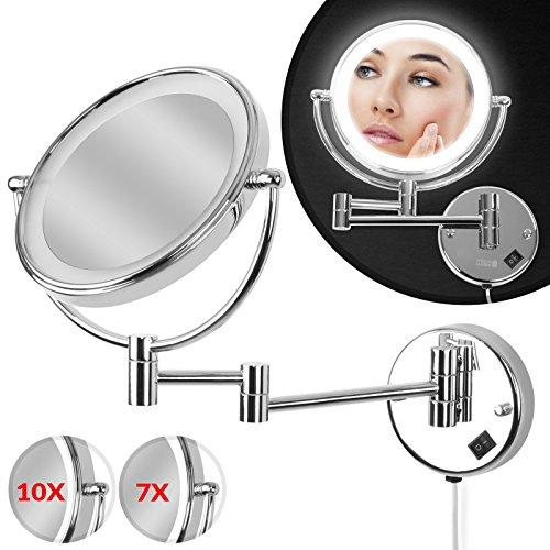 Aquamarin Kosmetikspiegel | EEK: A++ | mit 7- Fach Zoom, Ø 20cm, LED-Beleuchtung, Wandmontage, 3-Fach Gelenkarm | Schminkspiegel, Vergrößerungsspiegel, Rasierspiegel, Badspiegel, Wandspiegel, Make up