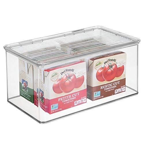Mdesign organizer cucina con coperchio - vaschetta da frigo impilabile per cucina e dispensa - contenitore alimenti per tè, caffè e snack in plastica senza bpa - trasparente
