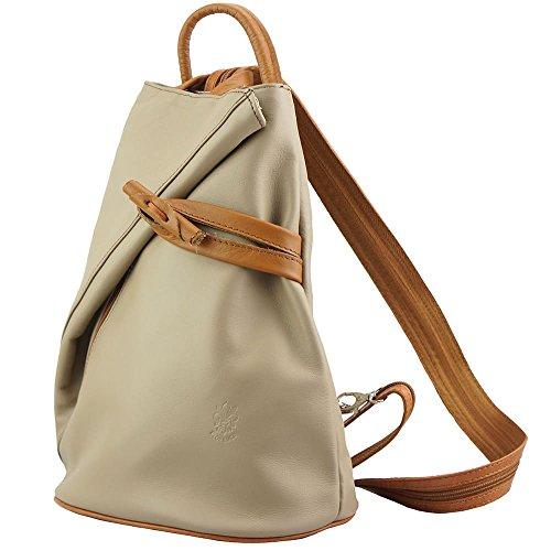 9af28facdd355 ... Rucksack-Tasche und Schultertasche Fiorella mit vielen Taschen aus echtem  Leder aus Italien Licht taupe ...