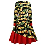 VEMOW Herbst Elegante Damen Abendkleid Kleid Frauen Vintage Floral Bodycon Langarm Lässige Abendgesellschaft Prom Swing Dress Cocktailkleid Ballkleid (Gelb, EU-32/CN-S)