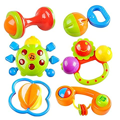 Peradix Safe Colourful Plastic Baby Nursery Hand Bell Hand Shake Rattle with Music & Light