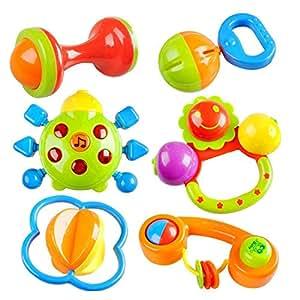 Peradix Baby Greifling Rassel Spielzeug Reizende Farbe Handbell Modell Jingle schütteln Ring Bell Ball mit Musik und Licht Kinder Geschenk 6 PCs Set