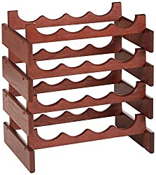 Wooden Mallet 16-Bottle Dakota Wine Rack, Mahogany