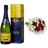 Monopole Heidsieck Blue Top Brut Champagner + MIFLORA Blumenstrauß Romantischer Bote | Entworfen von der Europameisterin