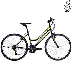 Bicicletta Mountain Bike Per Donna o Ragazze Integral Telaio 20 Nero Verde F.lli Schiano, Cerchi in Alluminio, Cambio SHIMANO, Copertoni Kenda