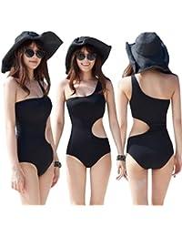 Fascinating Lingerie Women's Padded Monokini Swimwear (FLPLSASBOSSCPOPMSS001, Black, Large)