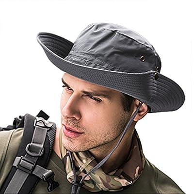 Sonnenhut Herren UV Schutz Sommer Outdoor Buschhüte mit Kinnband Safarihut