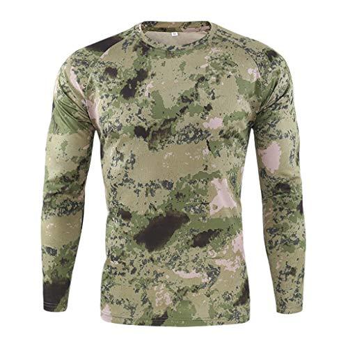Celucke Herren Funktionsshirt Langarm Kompressionsshirt Camouflage Sportshirts Männer Laufshirt Atmungsaktiv Schnelltrocknend für Training Radfahren Jogging Wandern