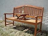 Gartenbank, Holzbank, Eukalyptusbank mit ausklappbarem Tisch Eukalyptus Holz FSC, 3-Sitzer Bank