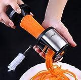Spiralschneider Hand für Gemüsespaghetti,FLYTON Rostfreier Stahl Gemüsehobel Für Karotte,Gurke,Kartoffel,Kürbis,Zucchini-mit enthält die Bürste