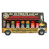 Food Truck Ultimate Grill Gift Set: Includes 2 hot sauces, 2 Seasoning rubs, 1 Wing Sauce, and 2 BBQ sauces