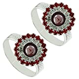 #9: PCM Red CZ Antique .925 Sterling Silver Toe Ring For Women