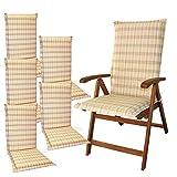 indoba® IND-70411-AUHL-6 - Serie Comfort - Gartenstuhl Auflagen - Hochlehner, Beige, kariert, 6 Stück