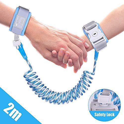 Bracciale sicurezza bambino anti perso cavo di sicurezza del bambino, con serratura, elastico imbracatura di sicurezza per bambino, viaggiare helper (2 m/blu)