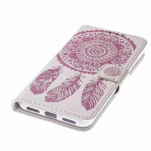 Cover Huawei P8 Lite 2017, Alfort 2 in 1 Custodia Protettiva in Pelle Verniciata Goffrata Campanula Alta qualità Cuoio Flip Stand Case per la Custodia Huawei P8 Lite 2017 Ci sono Funzioni di Supporto  Bianco e Rosa