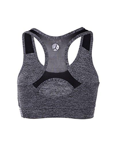 EUFANCE Donne Di Serena Allenamento Yoga Reggiseno Sportivo Senza Cuciture Comfort Palestra Active Tank Top Grigio Nero