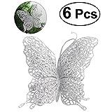 Tinksky Decorazioni di Natale di farfalla di Natale 6Pcs Decorazioni di albero di Natale Decorazioni di nozze 3 '/ 8cm (argento)
