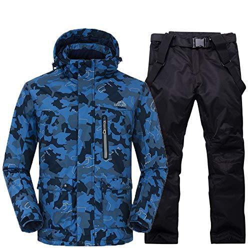 JIAKENVDE Skianzug Männer Schneeanzug Sets Outdoor-Sport Skianzug Sets Snowboard Ski Bekleidung -30 Winter Kostüme Camouflage Jacket + Bib Pant