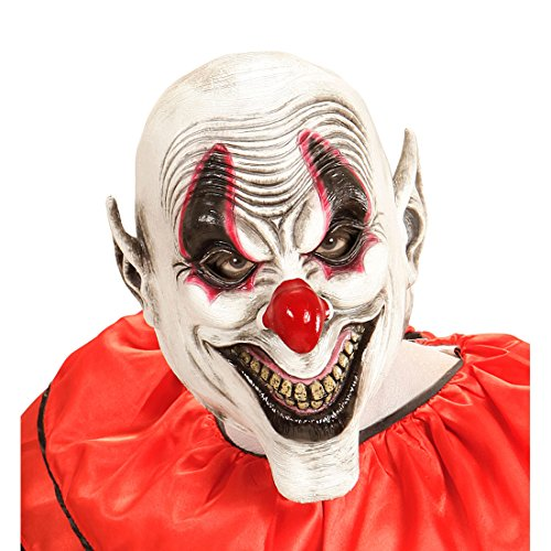 Amakando Gruselige Clownsmaske Lachende Horror Clown Maske Latexmaske Harlekin Clownmaske Narr Halloween Kostüm Accessoires Halloweenmaske Horrormaske - Harlekin Narr Clown Kostüm