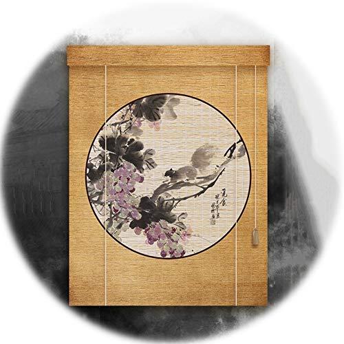 YANGJUN-Bambusrollo Rollo Bambus Raffrollo Sichtschutz Rollos Holzrollo Schattierung Abgeschnitten Tunnelzug Chinesisches Gemälde Anpassbare (Color : Diameter-1.25mm, Size : 60X200CM)