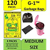 G-1 Medium:19 Inch X 21 Inch   4 Packs Of 30 Pcs - 120 Pcs   Disposable Garbage Trash Waste Dustbin Covers & Bags - Black