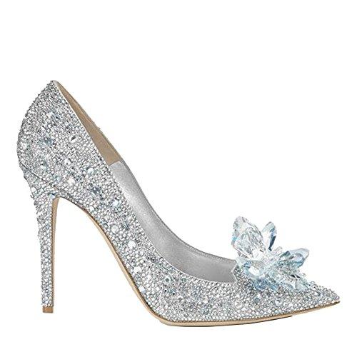 Hochzeit Glas Schuhe Wedding Shoes Hoch Hacke Schick Mode Cosplay Kostüm Costume Glas Slipper Zubehör Accessories (Kleid Schickes Cinderella)