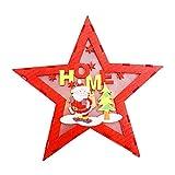 Weihnachts Stern Ornament,Wawer LED Lichter Batterie Nachtlicht Holzhaus Weihnachtsbaum hängende Ornamente Urlaub Fenster Dekoration Weihnachtsgeschenk (C)