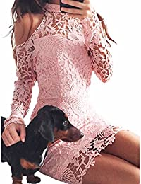 Ai.Moichien dulce rosa cuello halter encaje impreso Crochet Raglan manga larga manga corta vestido de fiesta
